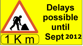 Road works 1 KM ahead