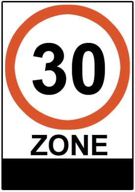 Entry to 30 Km/h zone