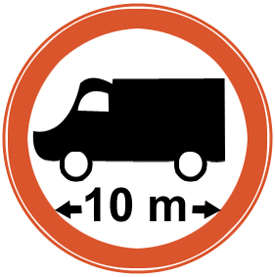 No entry for vehicles exceeding 10 meter in length