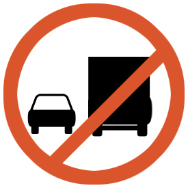 Overtaking by goods vehicles prohibited